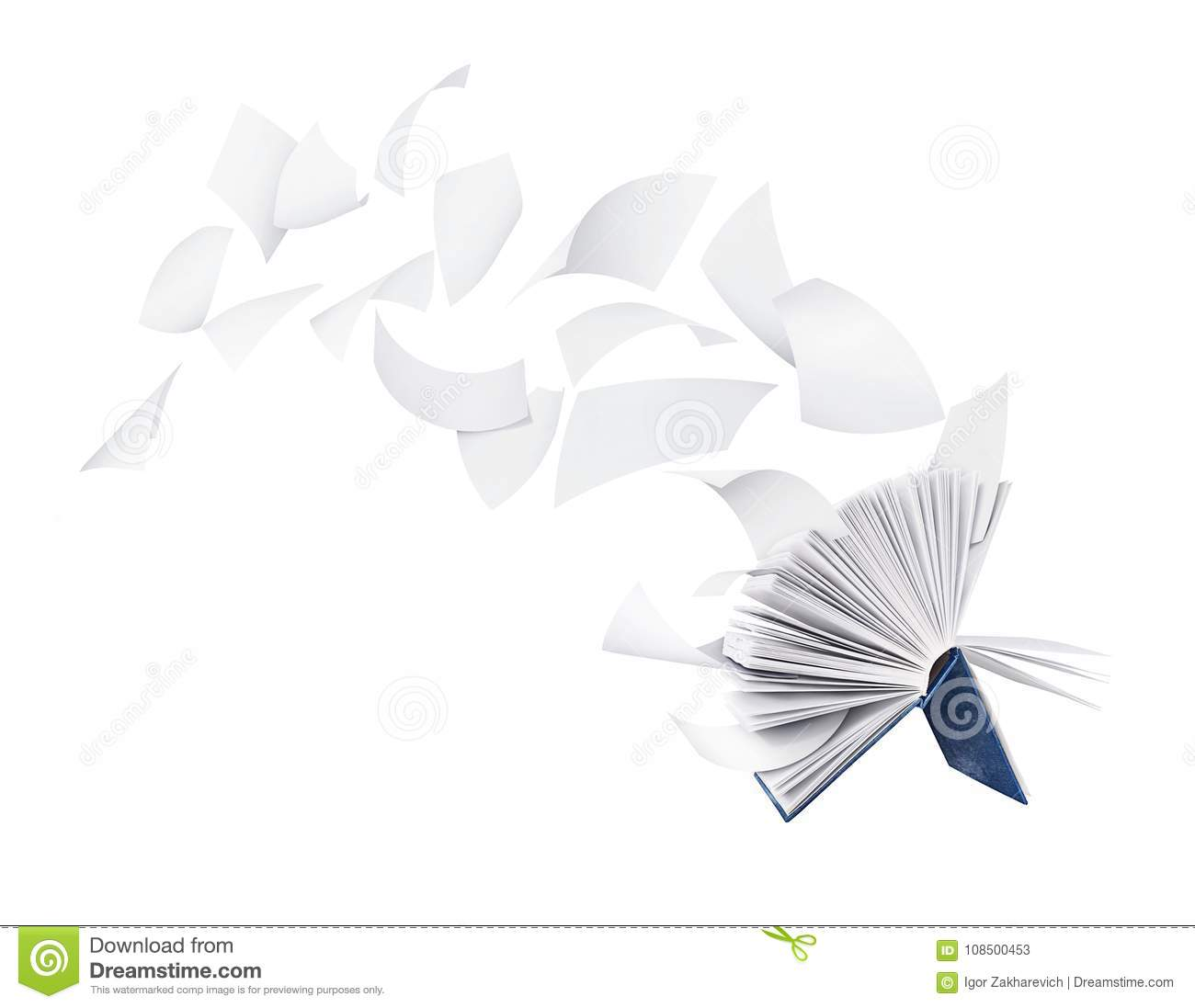 Two blank books with flying pages isolated on white