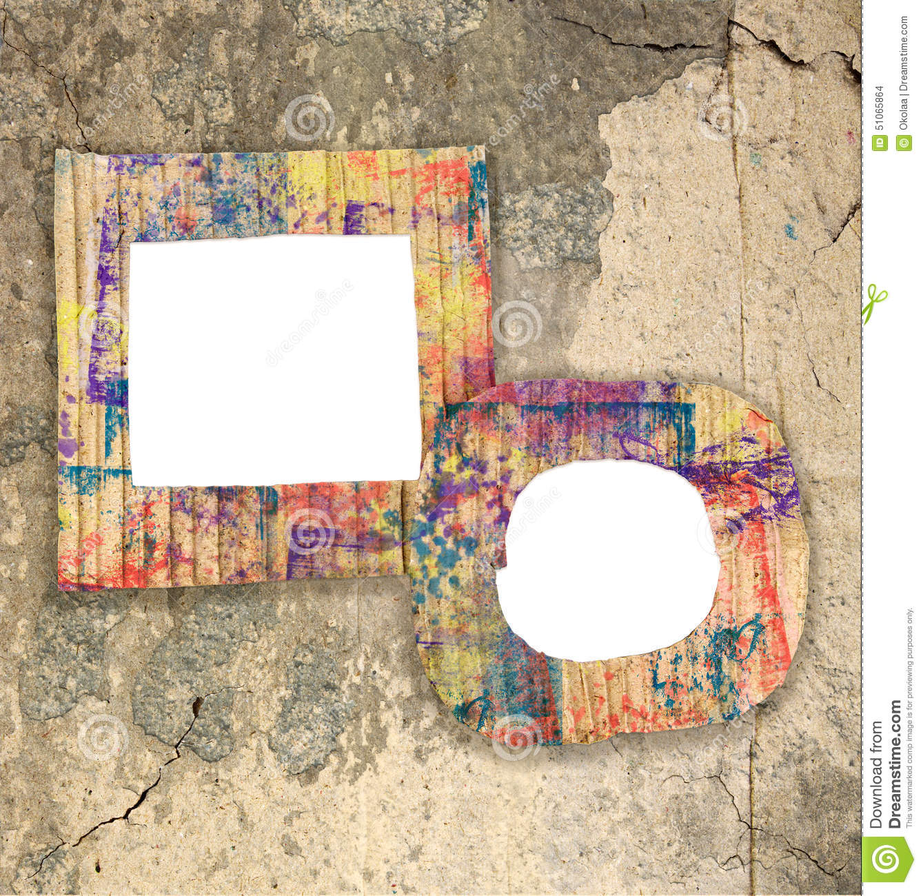 Two Blank Colorful Painted Cardboard Frames On Wall Stock Photo