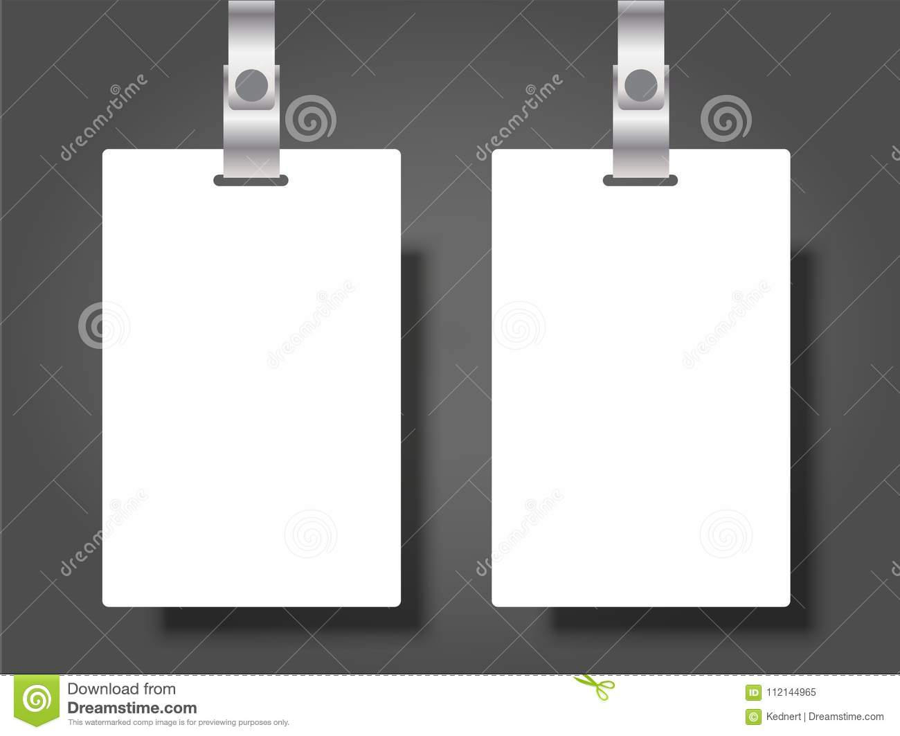 Two Blank Name Tags Mockup Vector Illustration Of Identity Card