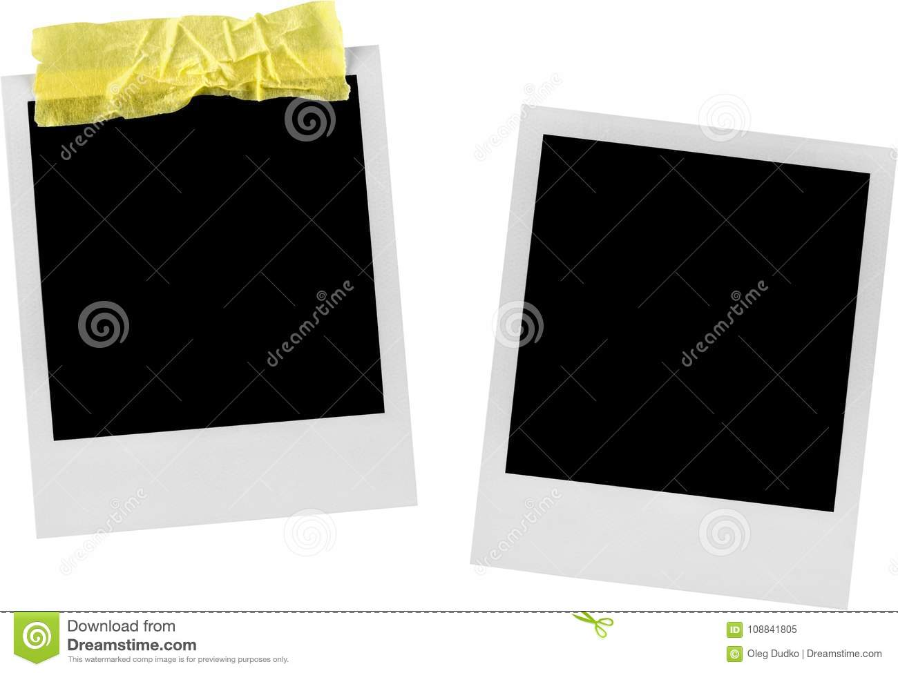 Two Blank Polaroid Frames With Adhesive Tape - Stock Image - Image ...