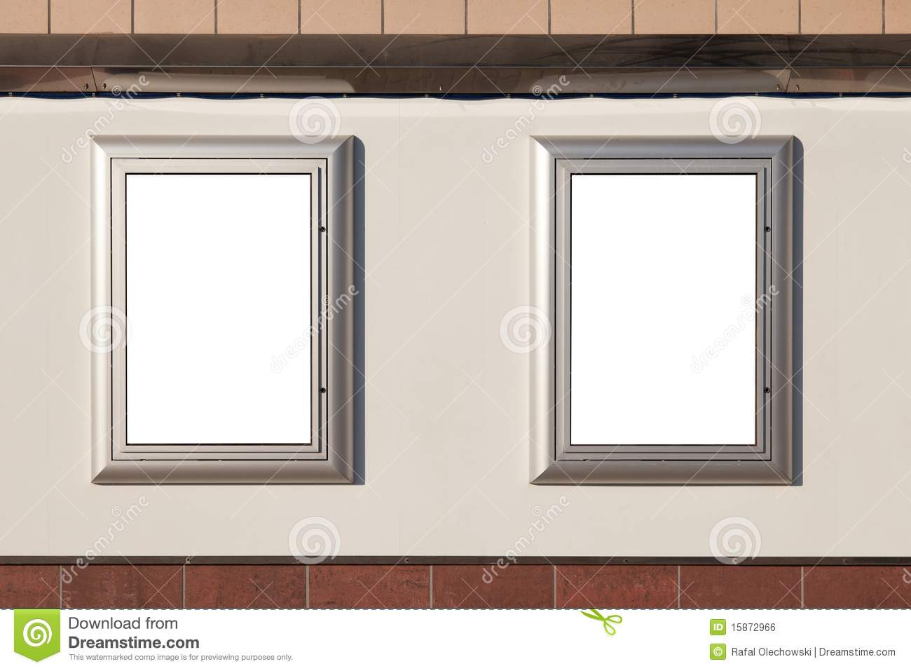two blank posters on wall royalty free stock image