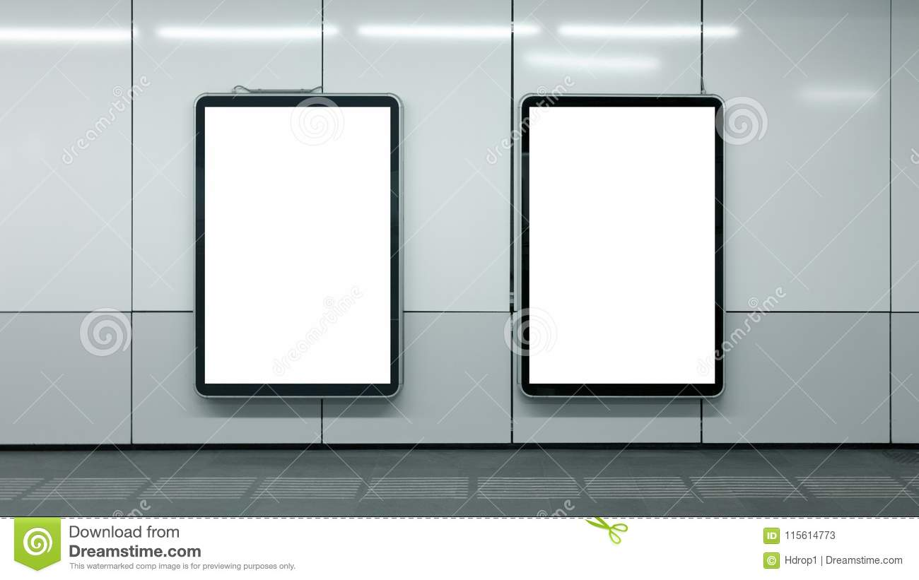 Two blank subway advertisements white isolated copyspace