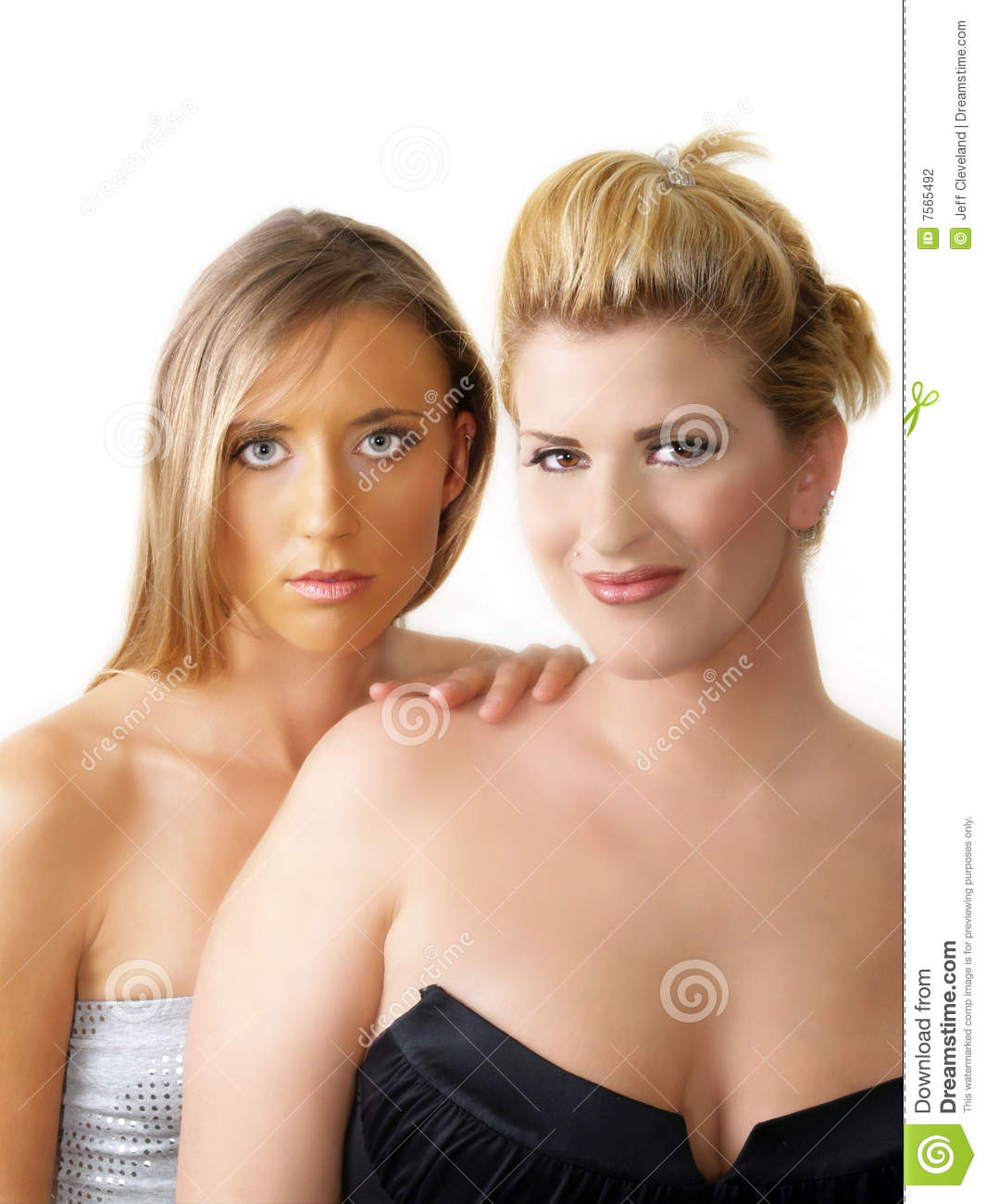 Two Blond Women Bare Shoulder Portrait White Stock Photography ...