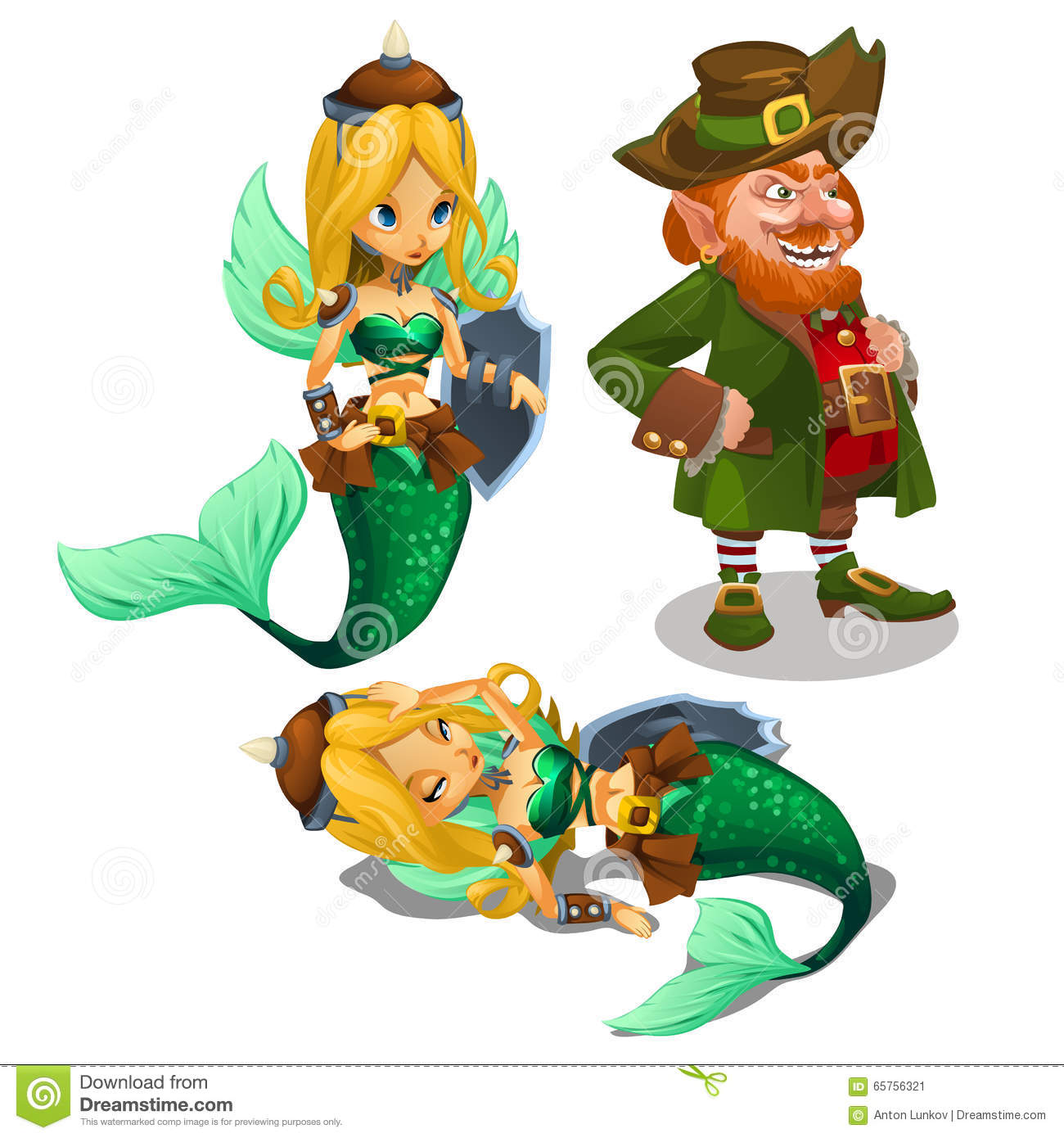 two blonde mermaids and a man leprechaun stock vector image