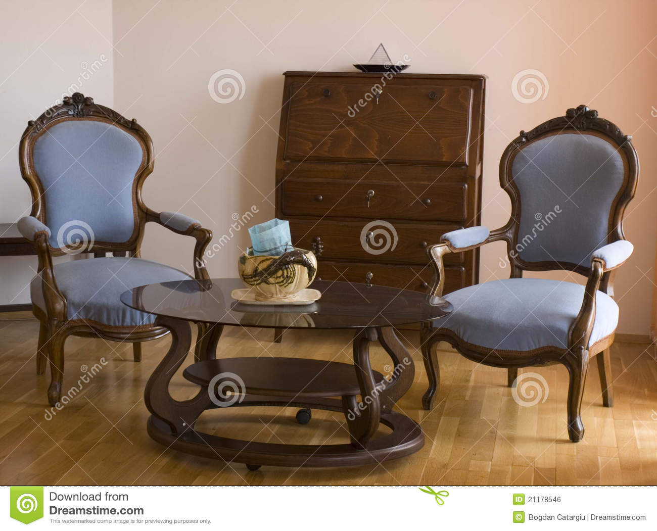 two blue chairs in the living room royalty free stock