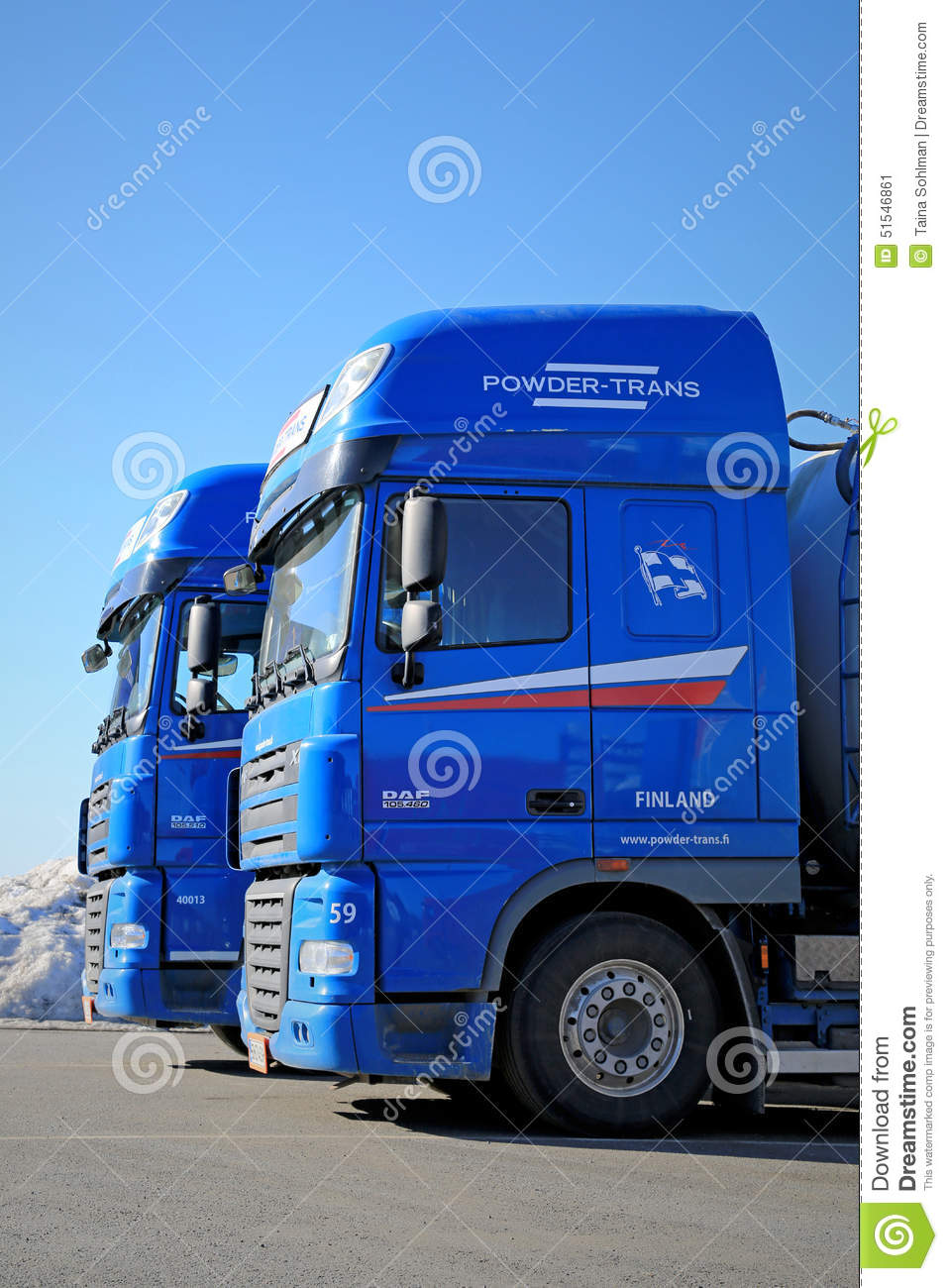 Two Blue DAF XF 105 Trucks editorial photo  Image of engine