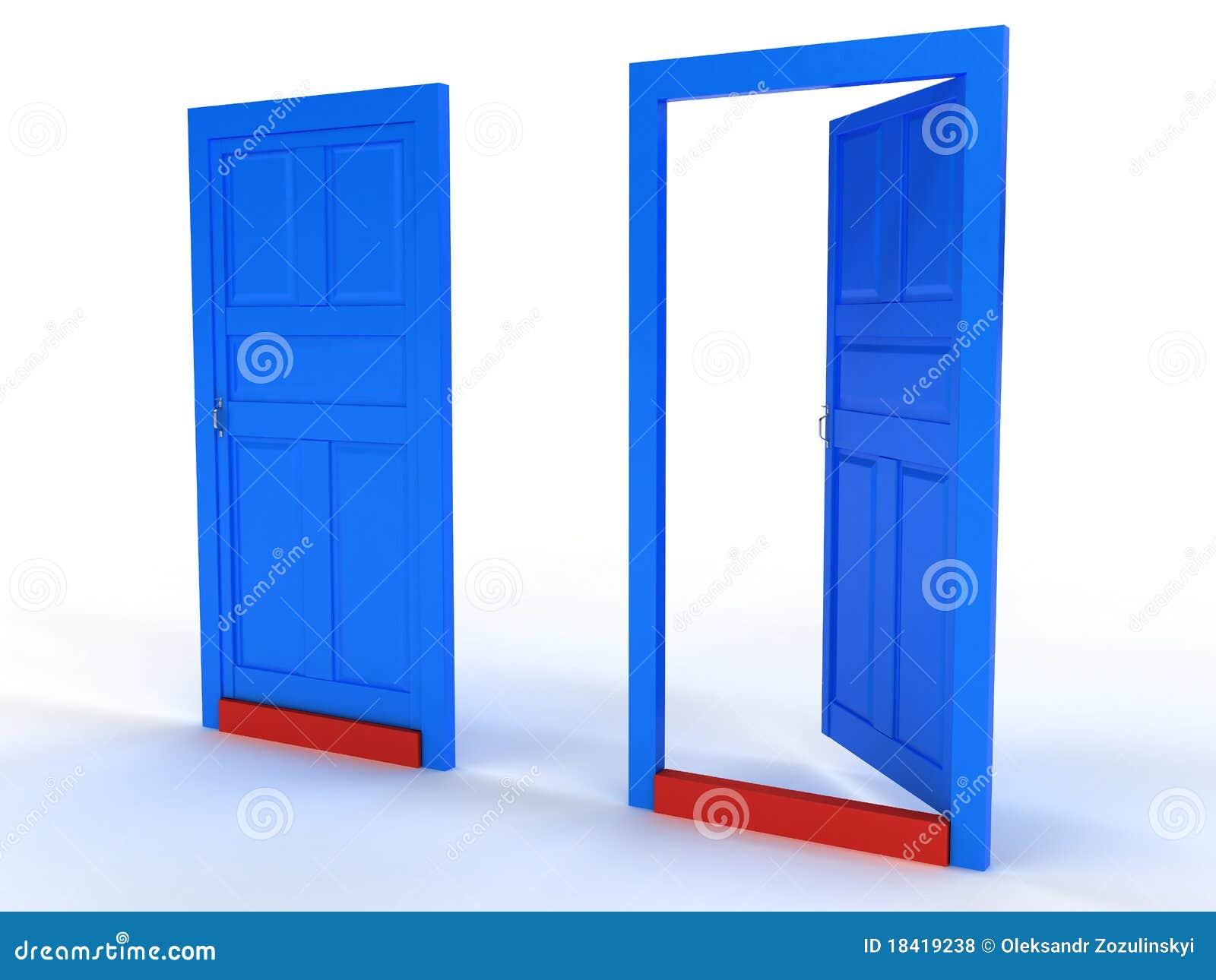 Open Door Clipart Two Blue Doors Open And Closed