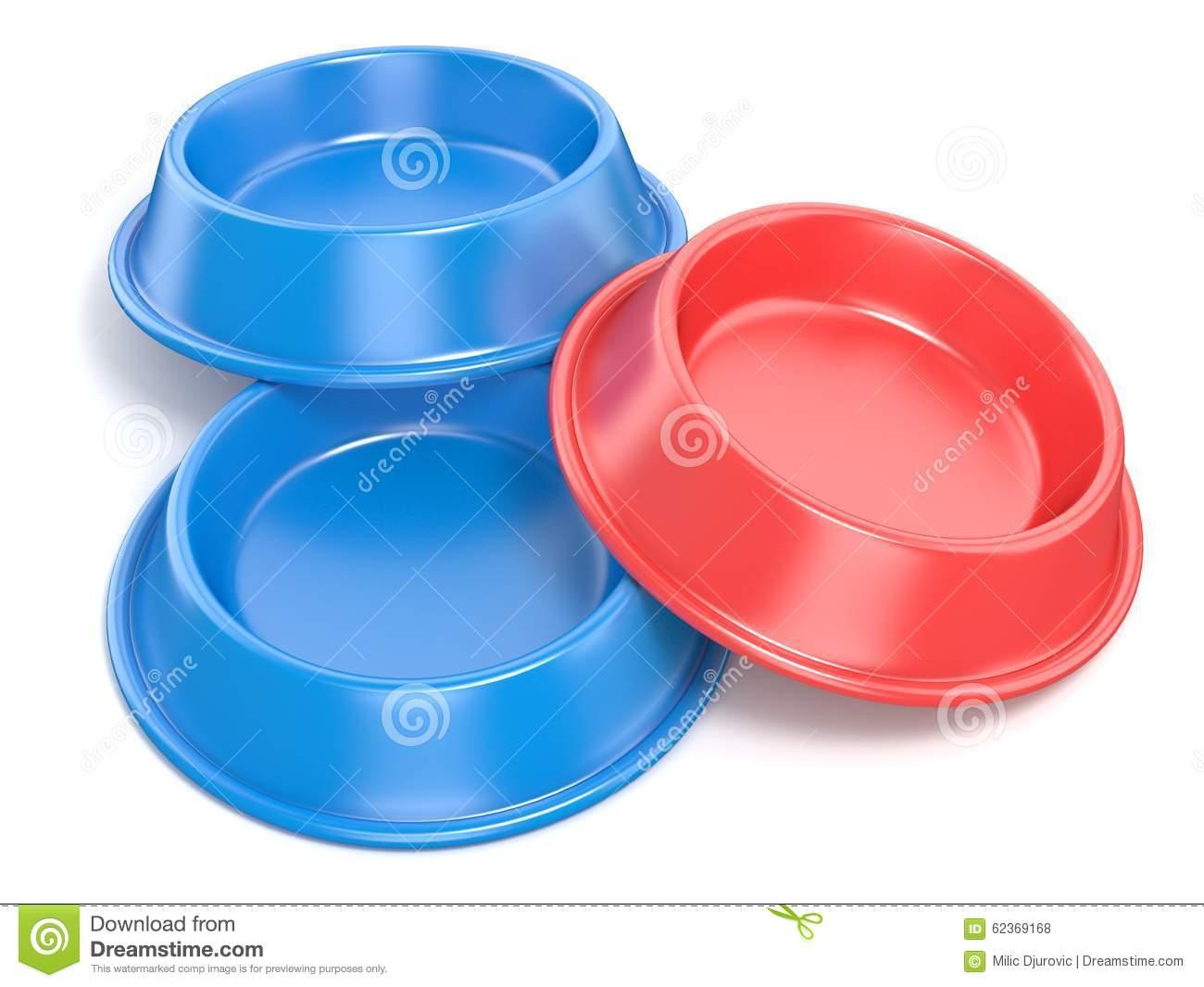 Download Two Blue Pet Bowls For Food And One Red. 3D Rendering Stock Illustration - Illustration of gift, background: 62369168