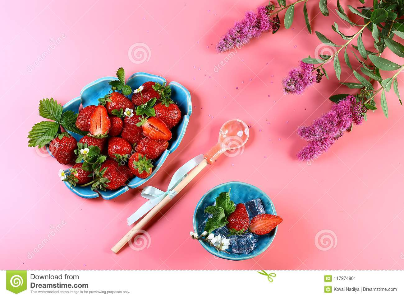 Two blue plates of fresh strawberries ice mint pink flowers two blue plates of fresh strawberries ice mint pink flowers decorative spoon mightylinksfo