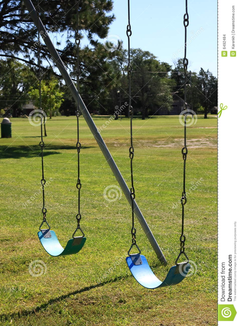 Two Blue Swings stock photo. Image of link, happiness ...