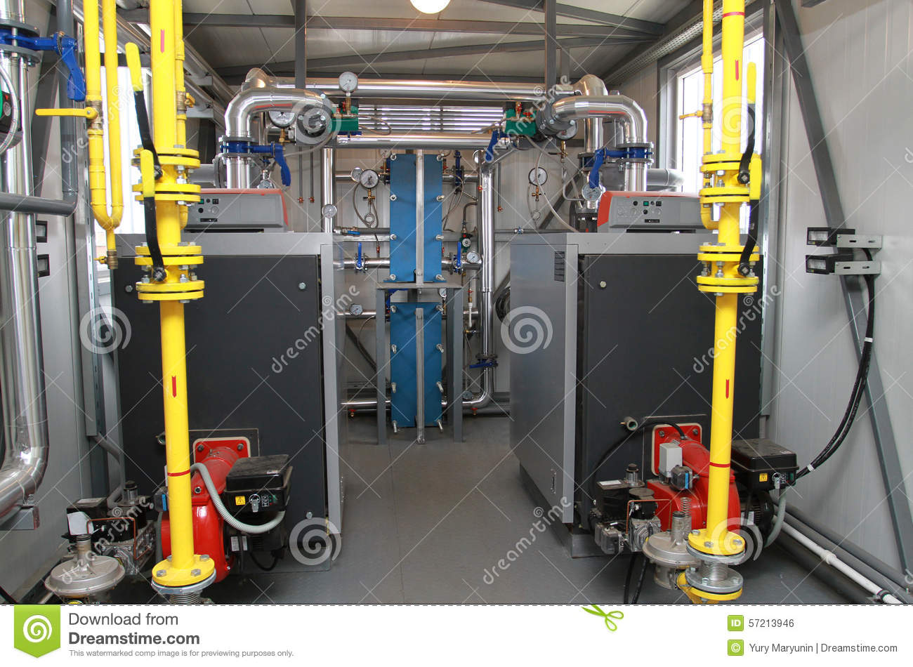 Two Boilers In A Modern Boiler-house Stock Photo - Image of heating ...