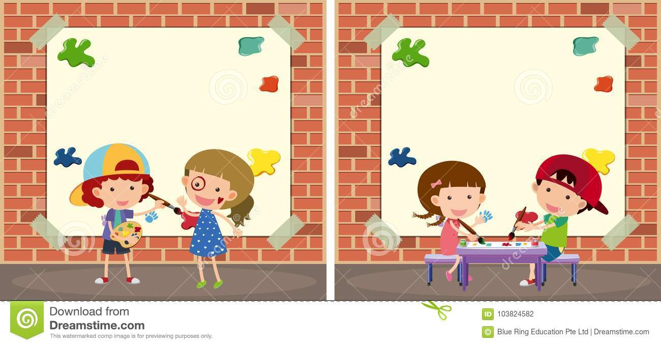 Two Border Templates With Kids Painting On Walls Stock Vector ...