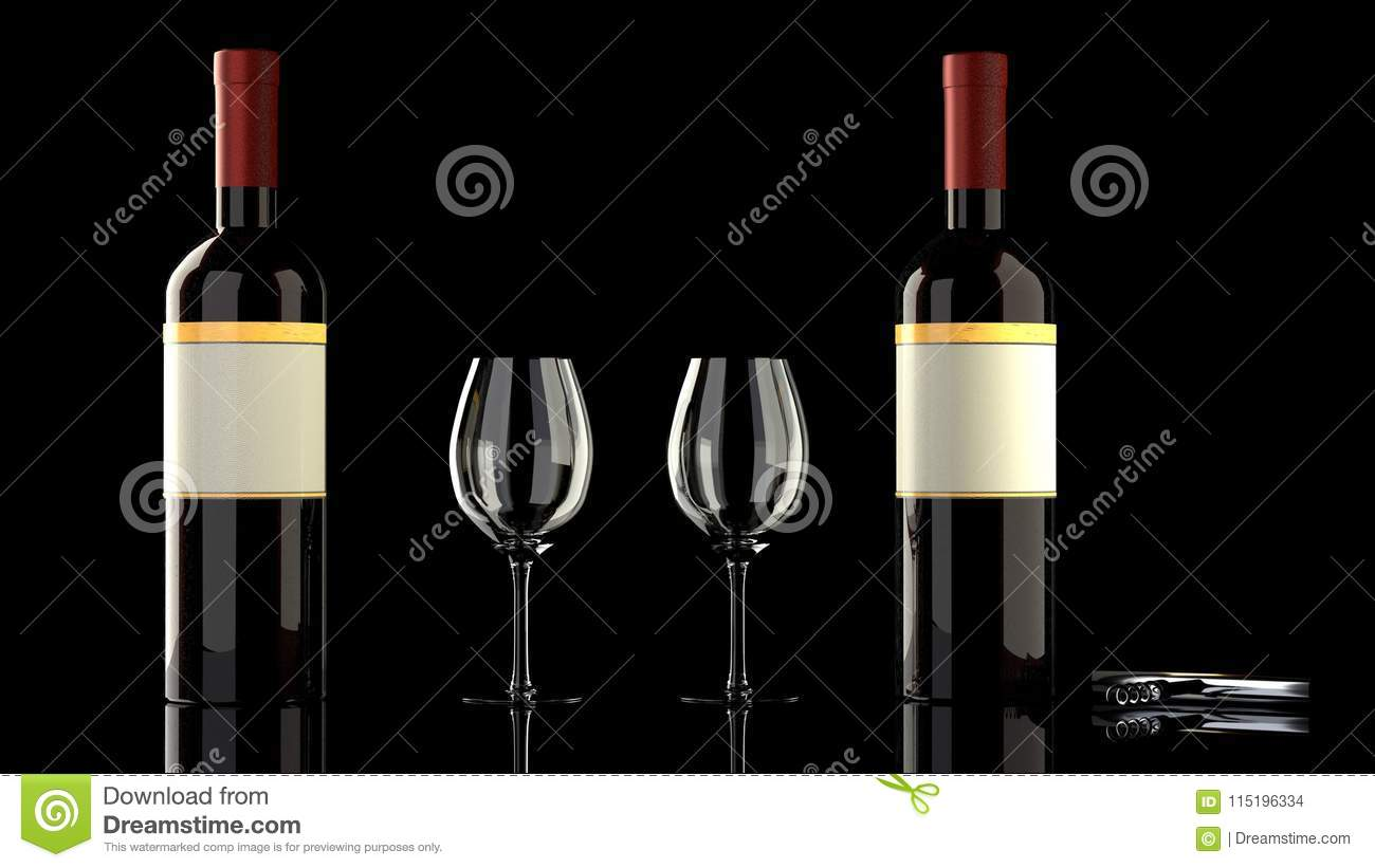 Two Bottles Of Red Wine With Two Classy Wineglasses Stock