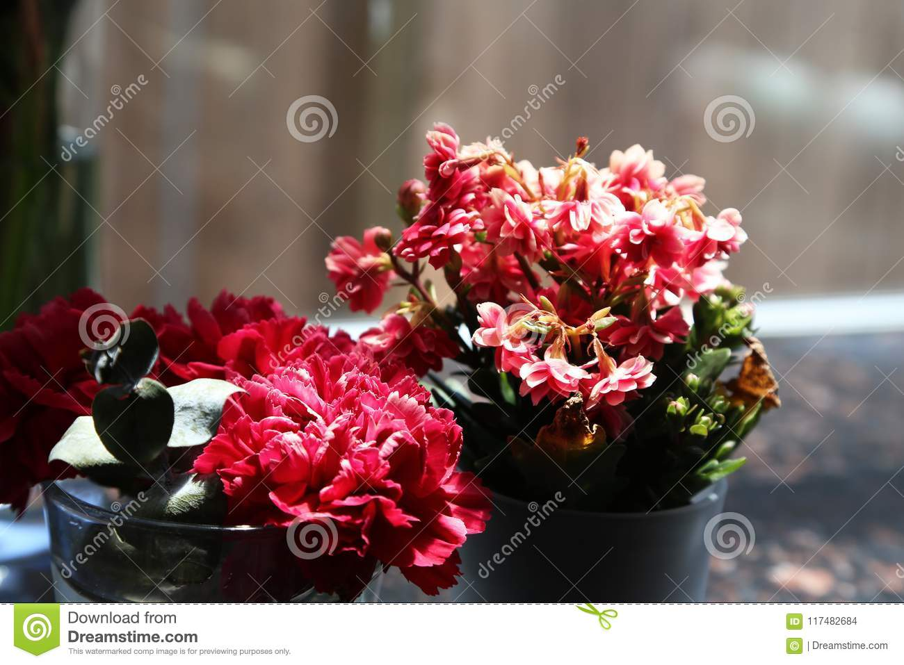 Beautiful pink flowers used for decoration stock photo image of two bouquets of beautiful pink flowers used for decoration izmirmasajfo