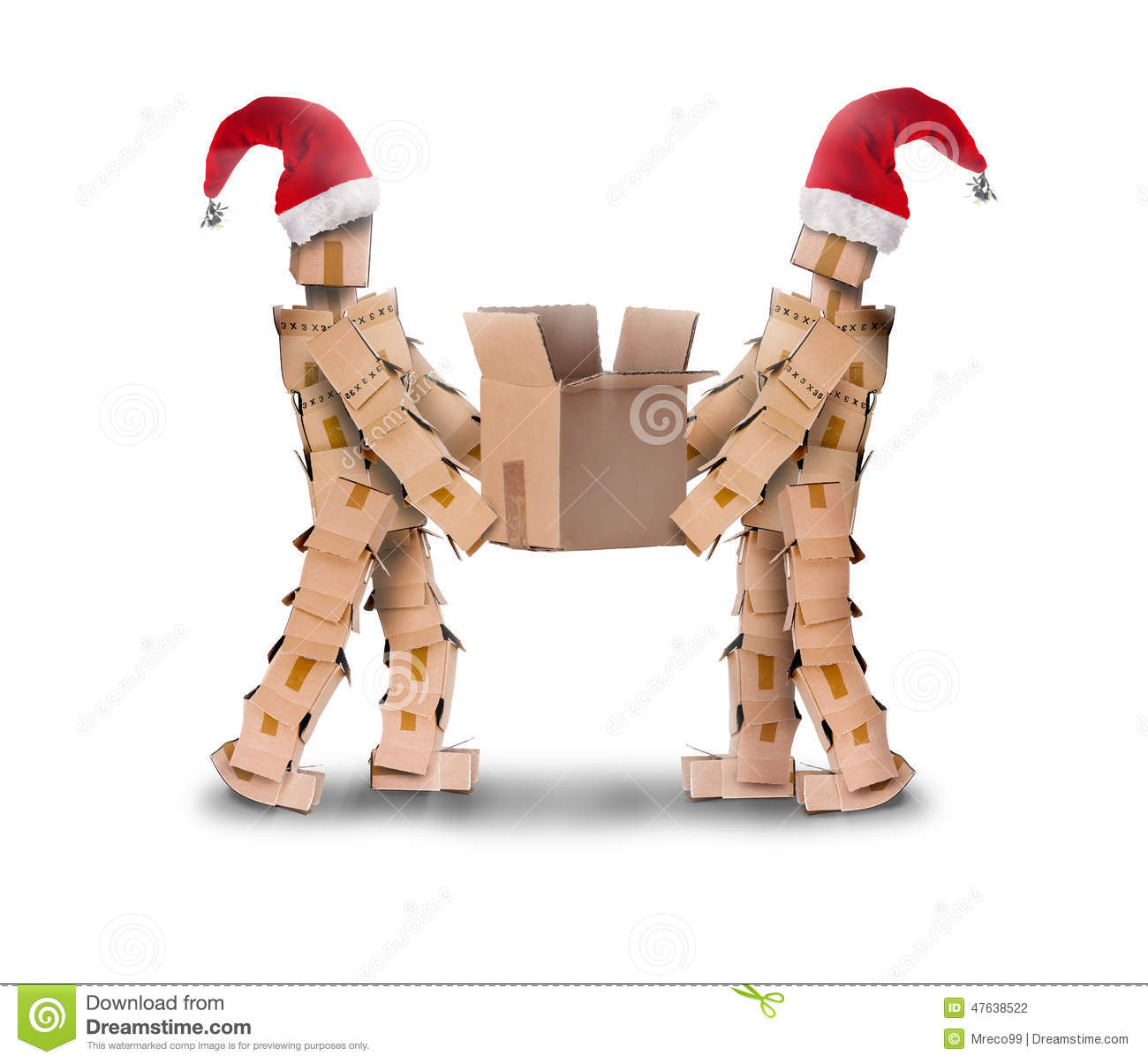 Two box characters in christmas hats