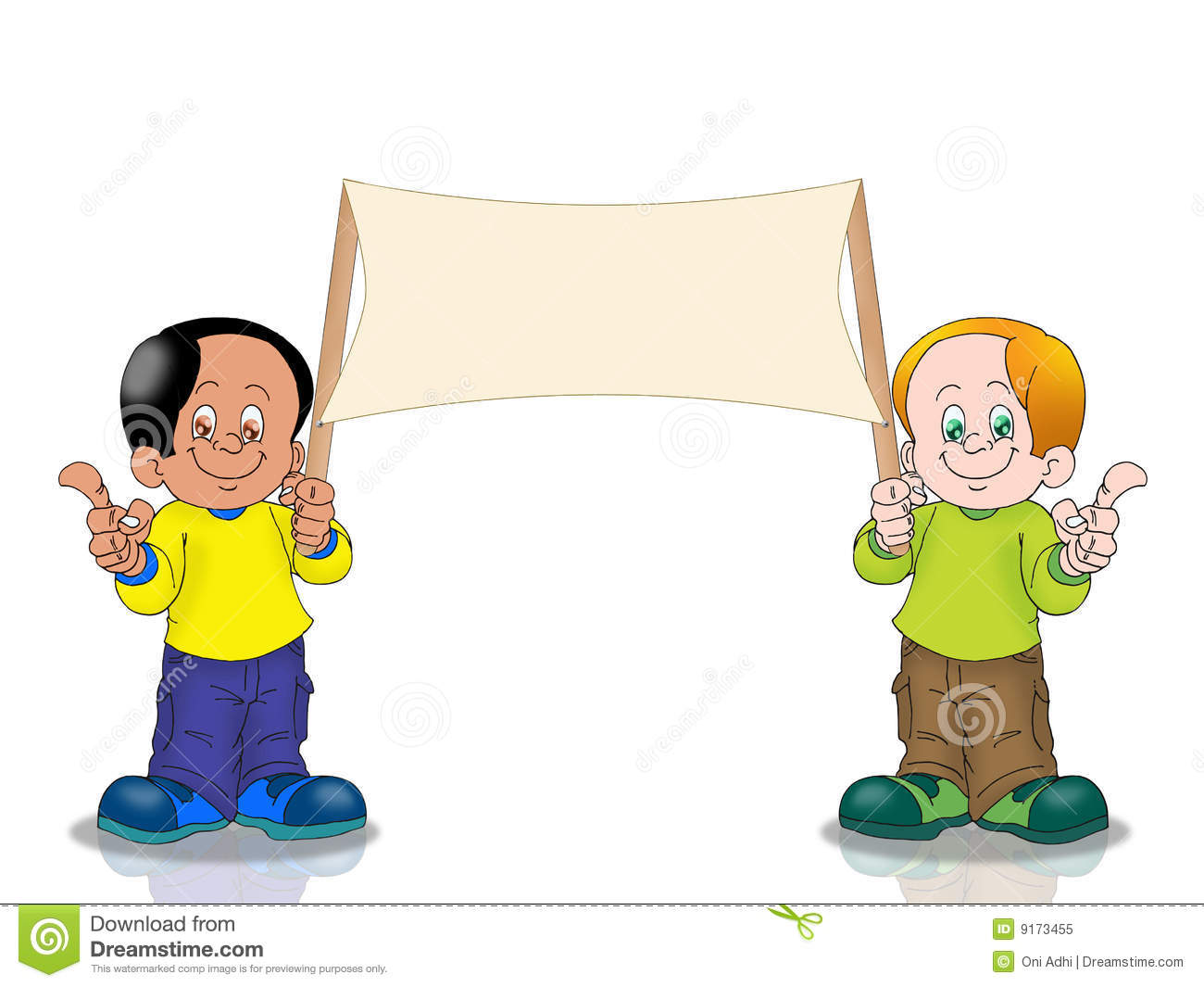 two boy holding banner