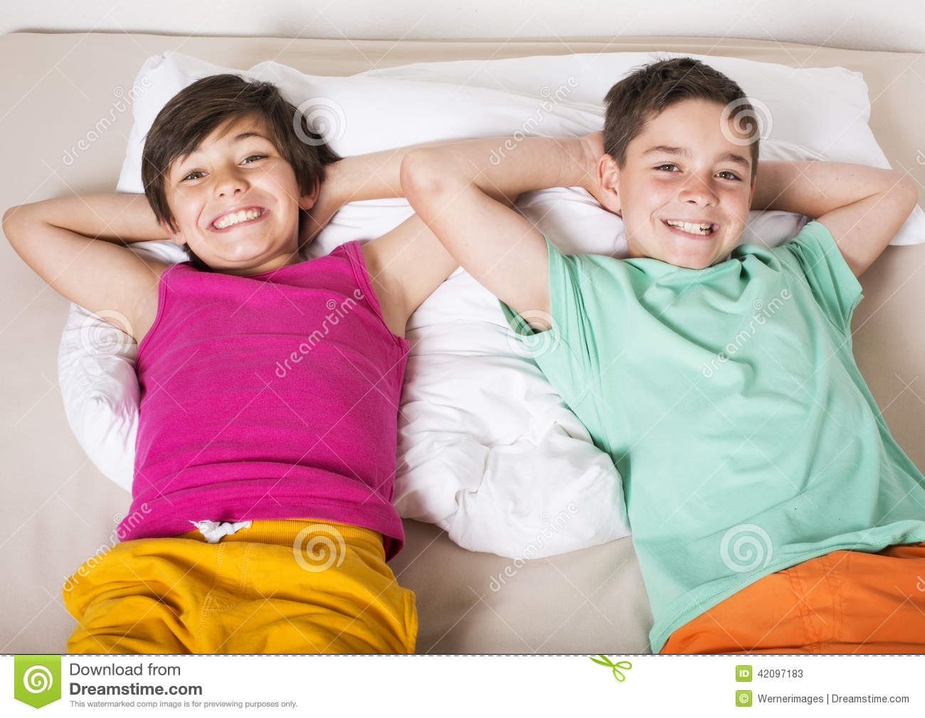 Two Boys In Bed Stock Image Image Of Boys Smiling Happy 42097183