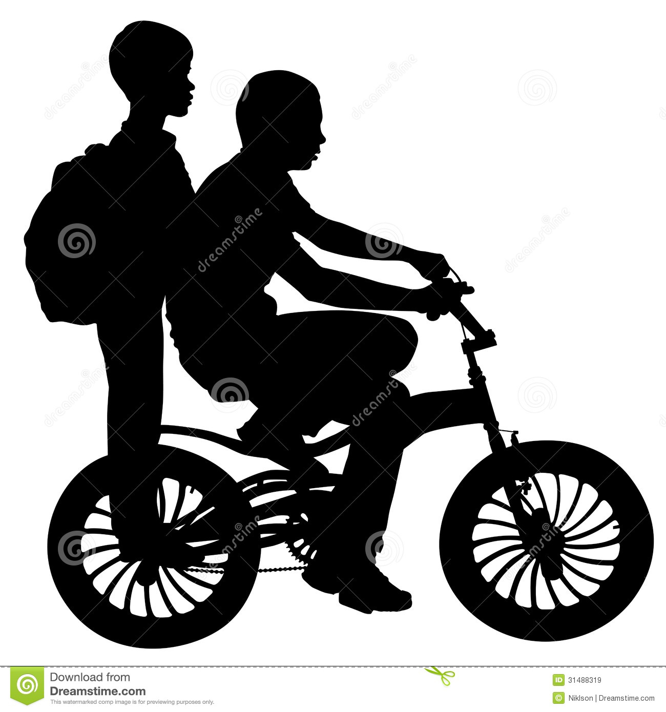 Two boys on a bicycle stock vector. Illustration of ...