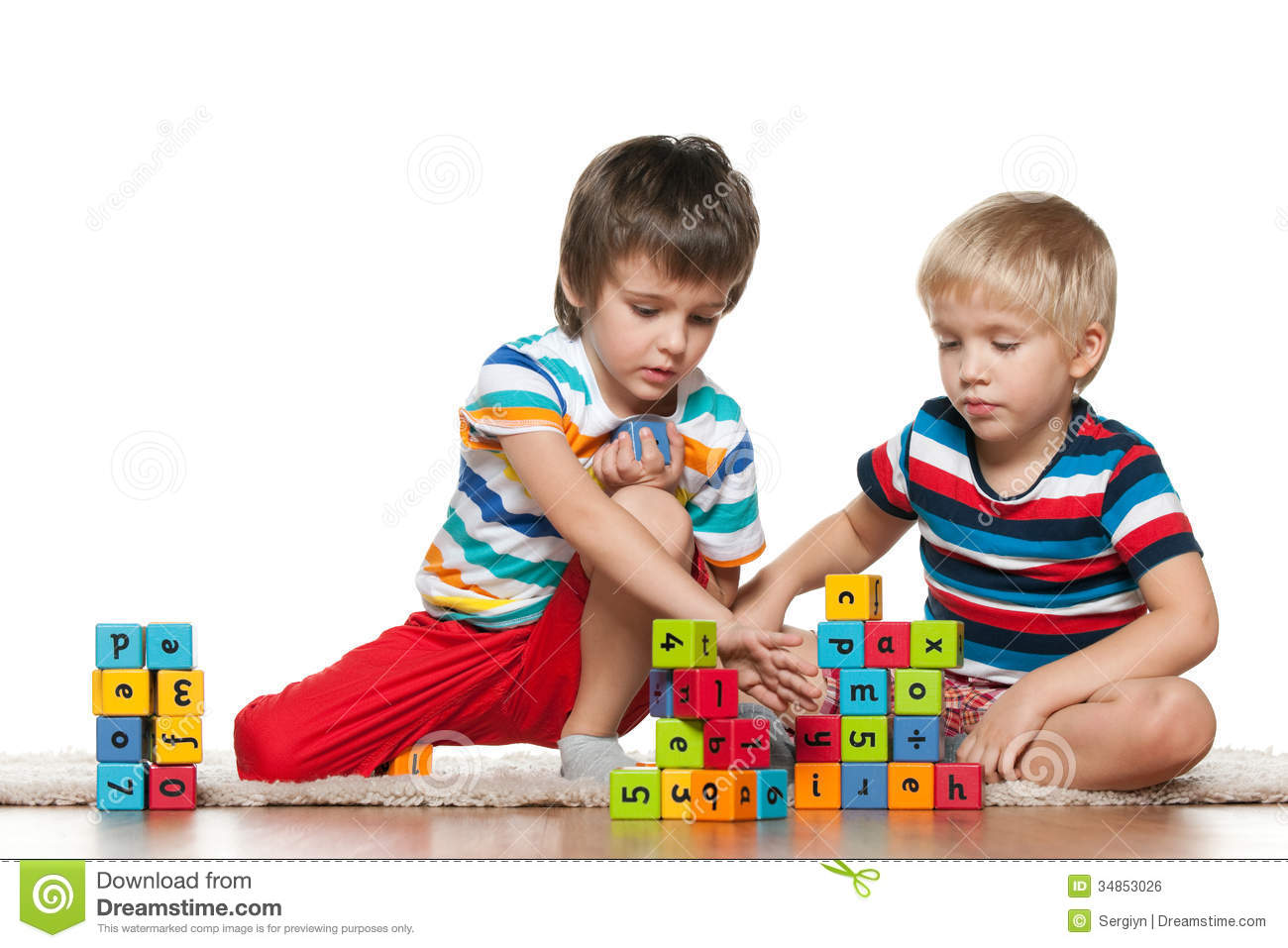 Boys Sharing Toys : Two boys with blocks stock photo image of playing