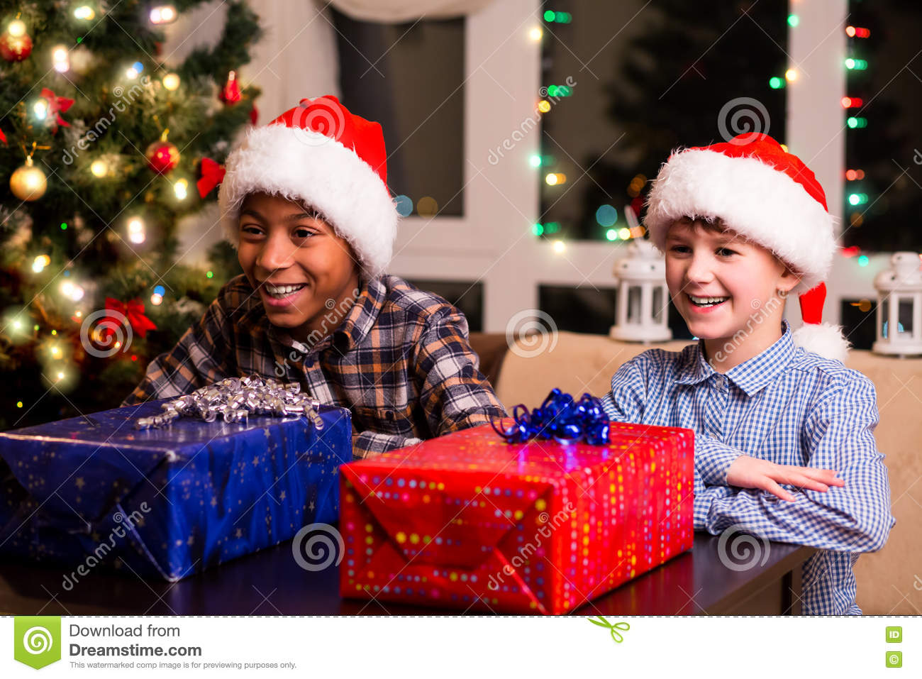 Boys Christmas Present.Two Boys With Christmas Presents Stock Image Image Of