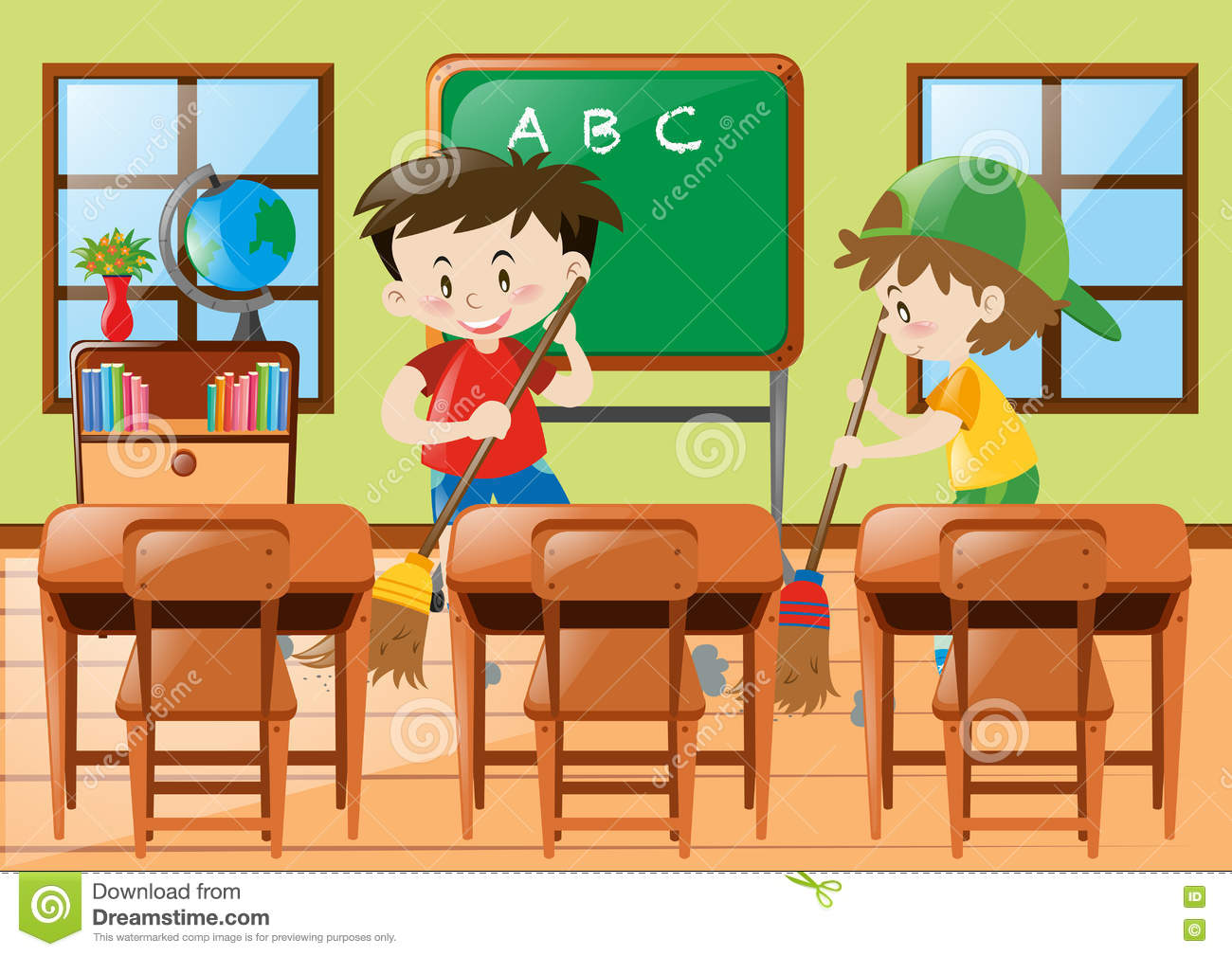 two boys cleaning the classroom stock vector
