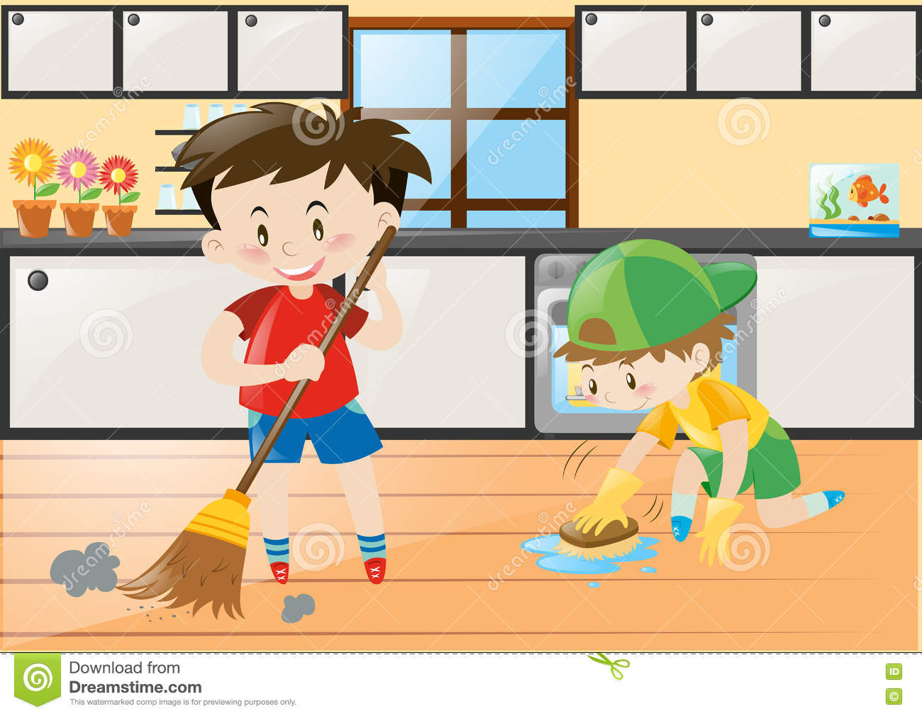 Two Boys Cleaning The Kitchen At Home Stock Vector
