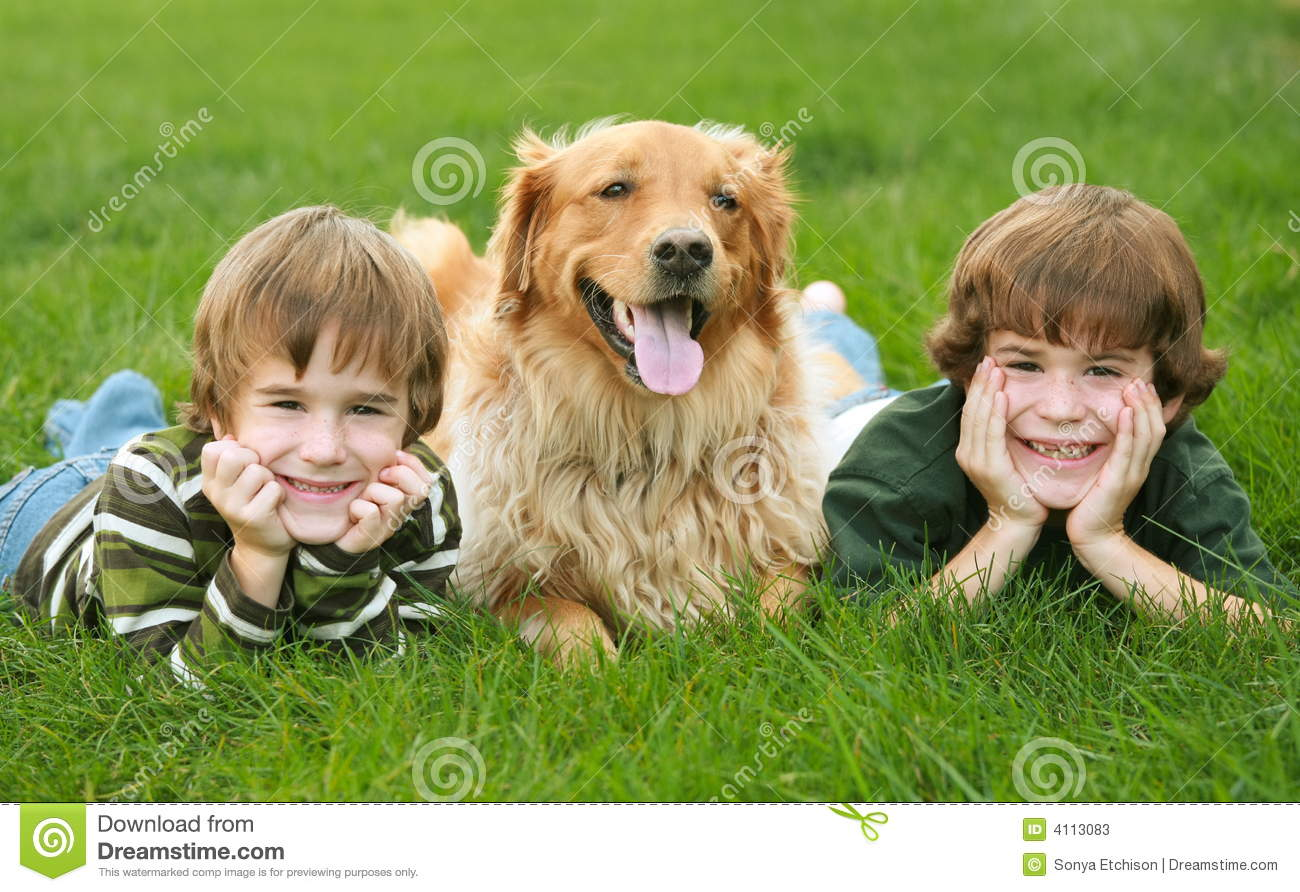 Two Boys And A Dog Stock Image. Image Of Fall, Dogs