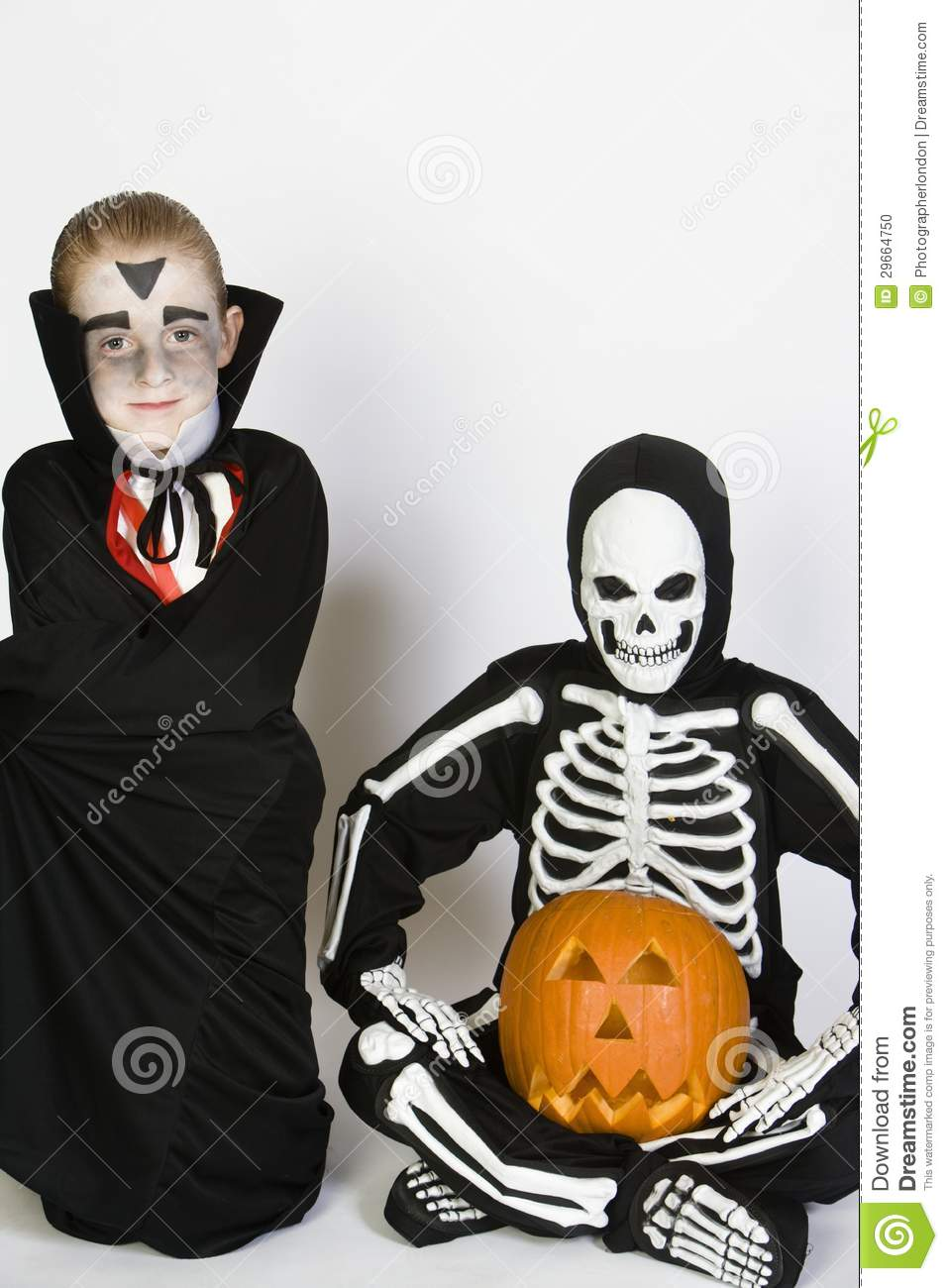 Two Boys Dressed In Halloween Costumes Stock Photo - Image: 29664750
