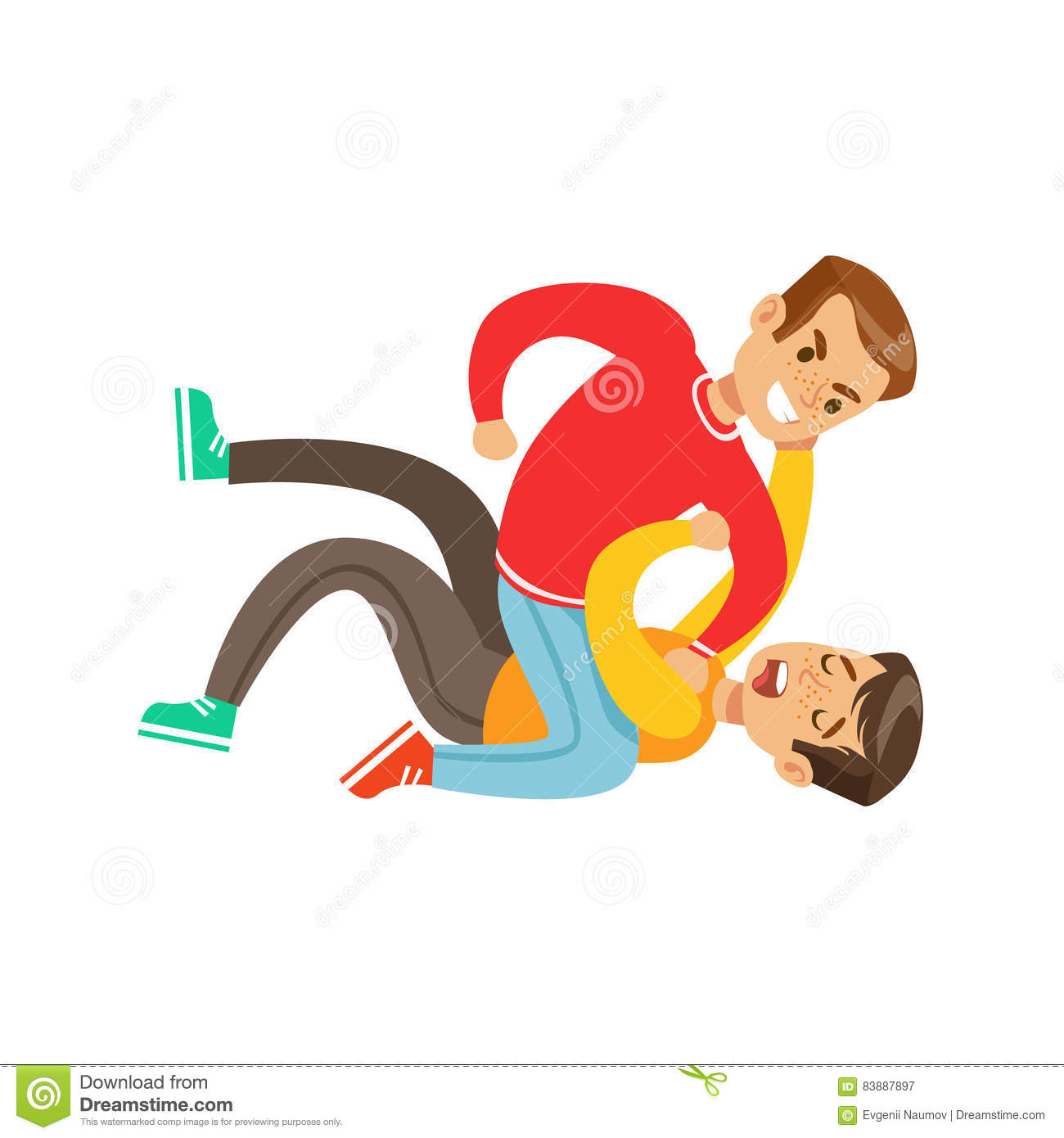 Two Boys Fist Fight Positions, Aggressive Bully In Long Sleeve Red Top  Fighting Another Kid
