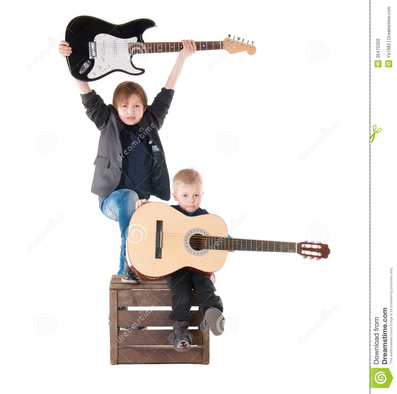 two boys with guitars on a box stock photo image of child blue