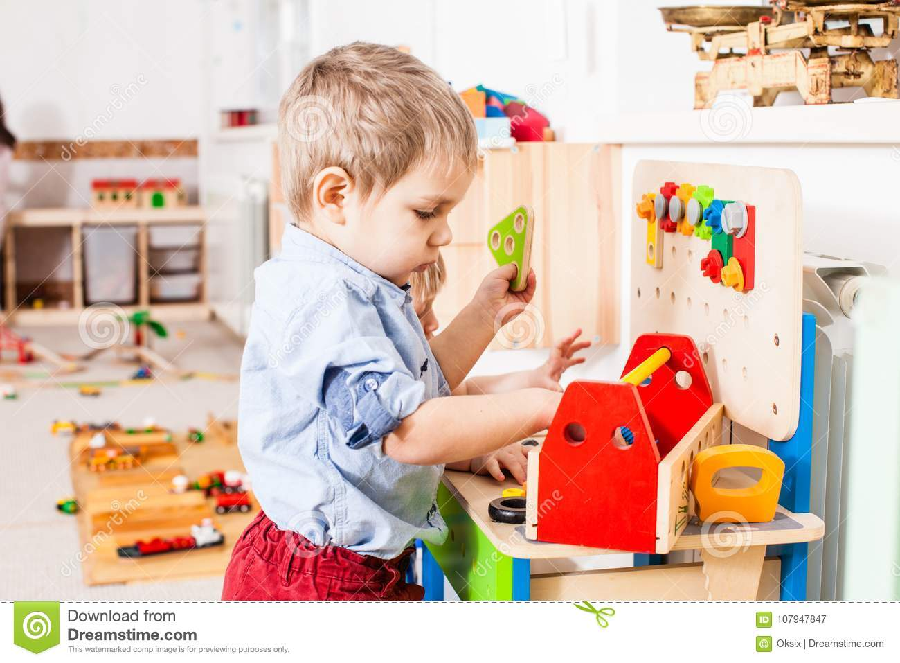 Boys Play With Wooden Toys Stock Image Image Of Education 107947847