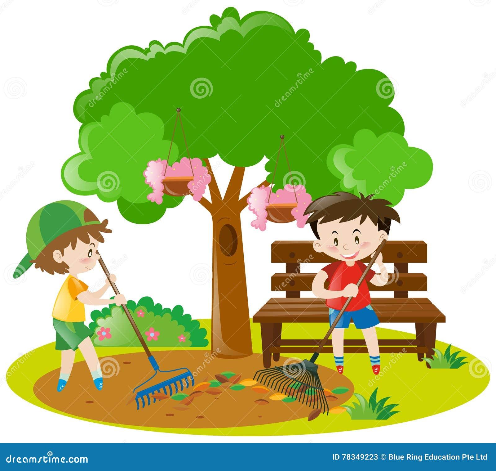 Two Boys Raking Leaves In Garden Stock Vector Illustration Of Kids
