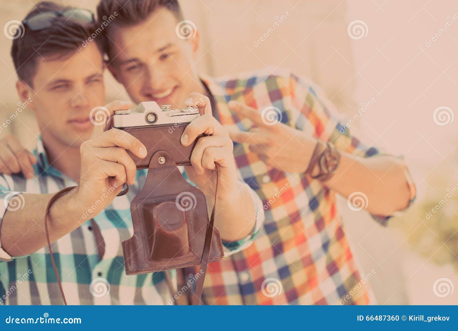 two boys with retro photo camera stock photo image of leisure