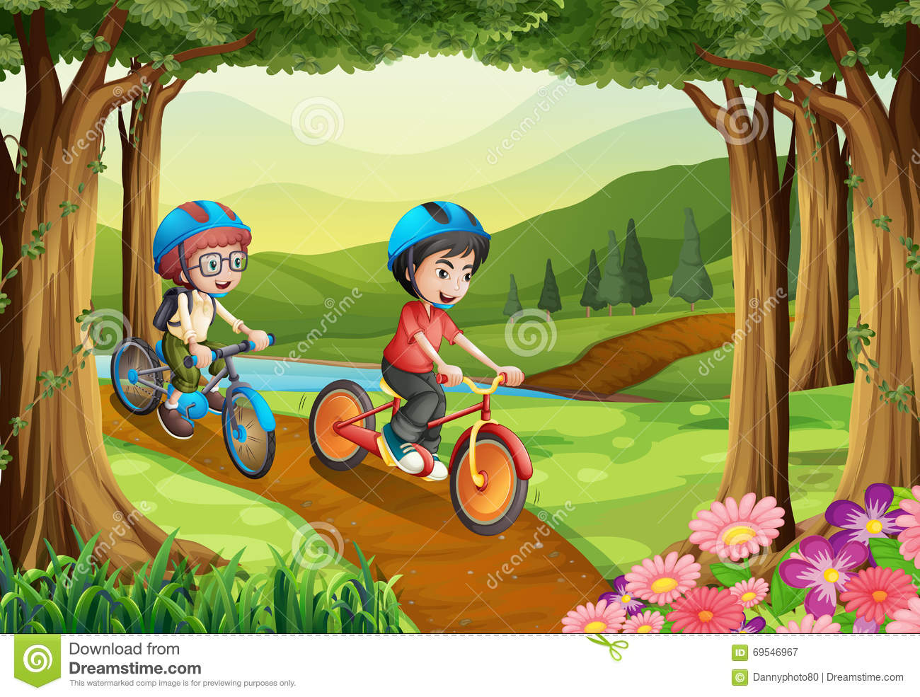Two Boys Riding Bicycle In The Park Stock Vector ...
