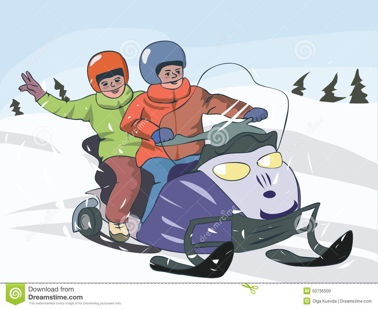 Two Boys On Snowmobile Stock Vector - Image: 50735500