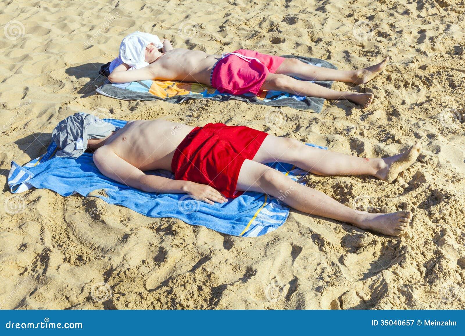 sunbathing naked teen boys