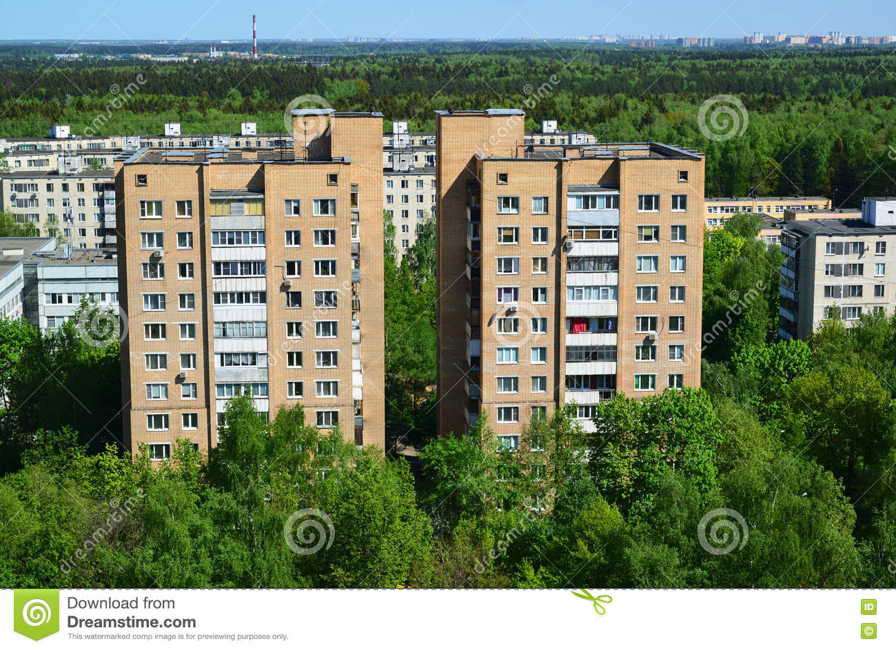 Two brick houses in Top view of Zelenograd Administrative District, Moscow