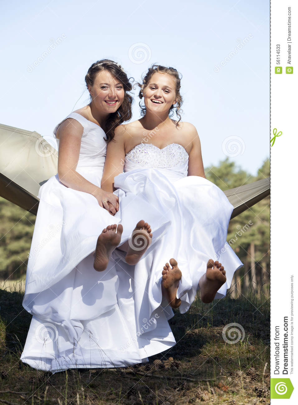 Two Brides In Hammock Against Blue Sky With Forest