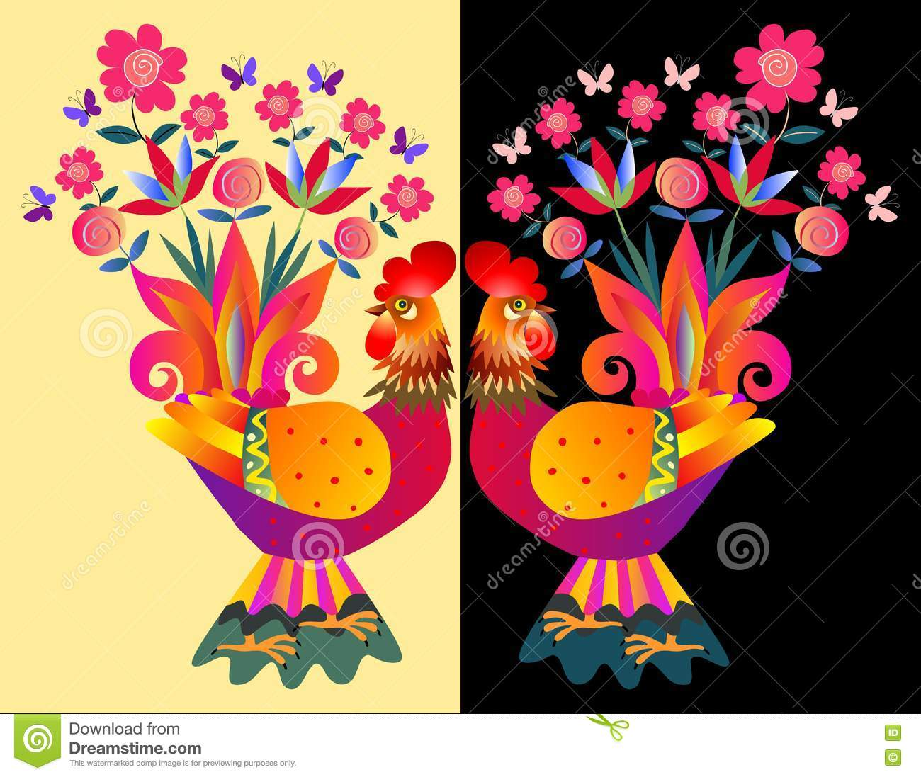 Two bright colorful cockerels - Vases with flowers.