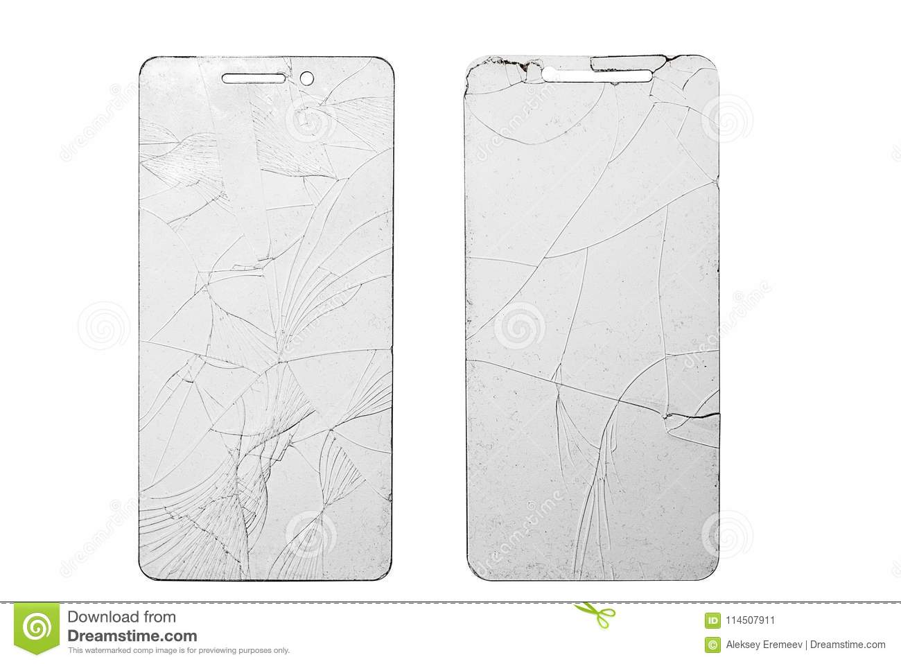 Two Broken Glass For Phone On Isolated White Background Stock Image ...