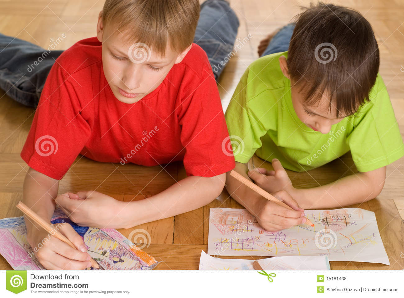 Two Brothers Draw Stock Photo Image Of Education Human