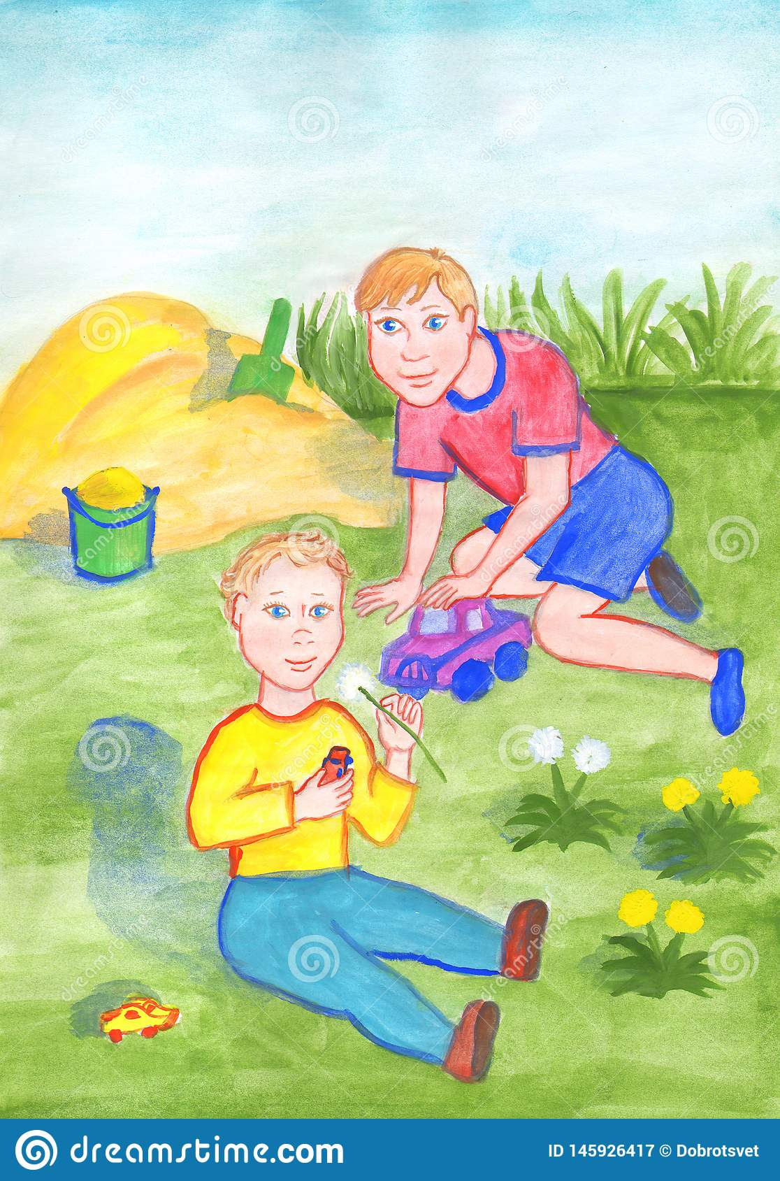 The two brothers are playing in the garden. Children in the hands of toy cars. Watercolor illustration