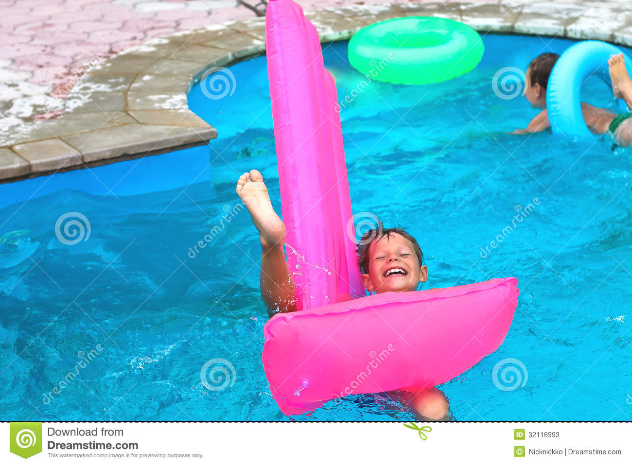 Two brothers in the pool stock image  Image of lying - 32116993