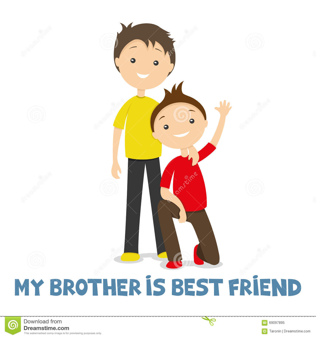 Happy Sister And Brothers Day: Two Brothers Together Stock Vector. Illustration Of Little