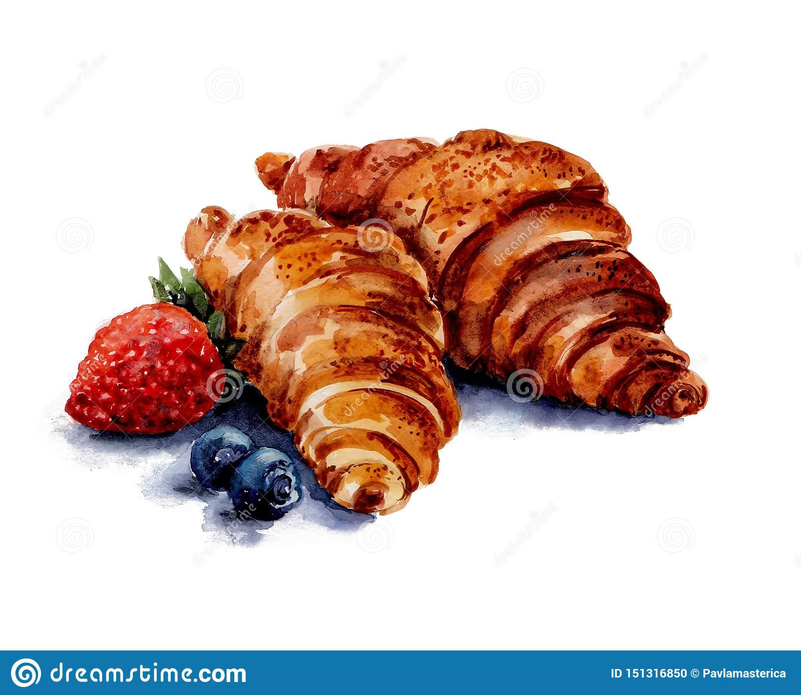 Two brown croissants are located in the center of the picture. To the left of them lie one berry of red strawberry and Watercolor.
