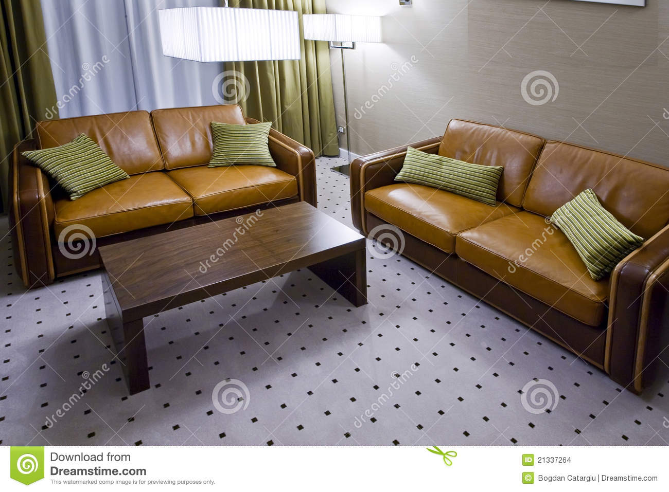 Two Brown Leather Sofas In Living Room Stock Photo Image Of Indoors Style 21337264