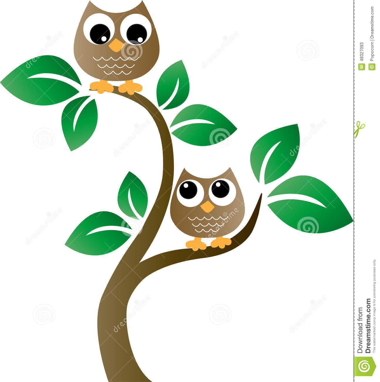 Owl Tree Wall Sticker Two Brown Owls In A Tree Stock Vector Image 48327093