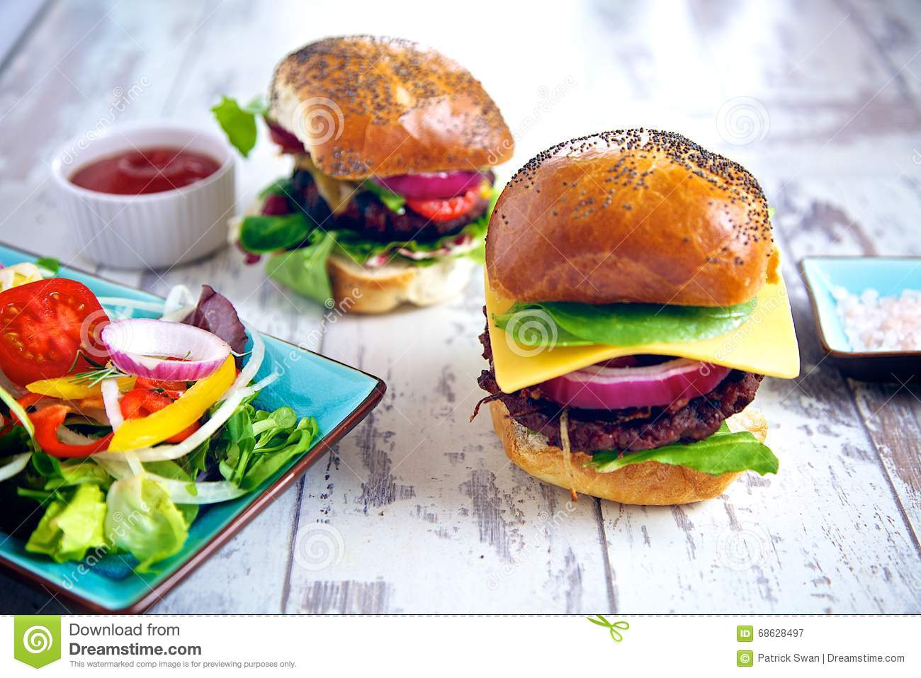 Two Burgers Stock Image Image Of Burger Barbeque Cheeseburger 68628497