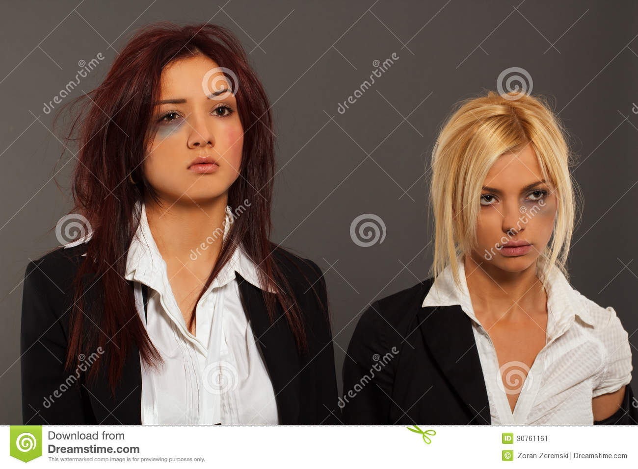 Two busines woman after fight