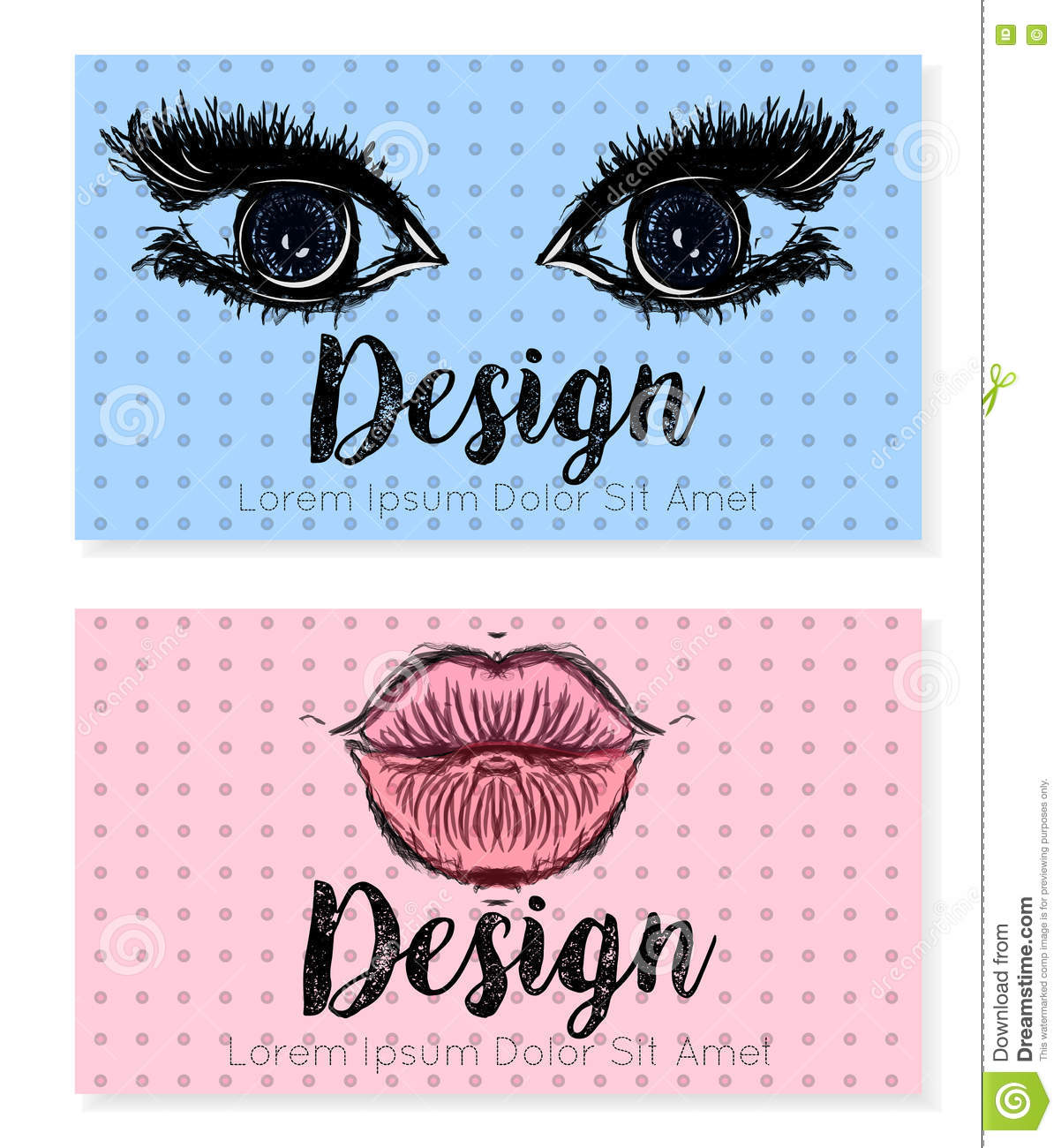 Two Business Card Template For Beauty Salon, Make-up Or Cosmetic ...